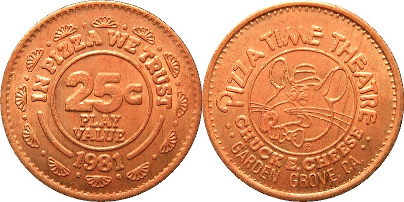 Chuck E Cheese Tokens With Towns 1981